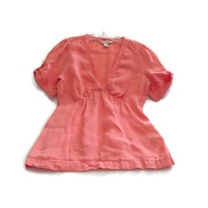 Banana Republic Blouse 100% Linen Pink Salmon S